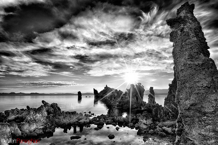 Mono Lake California at Sunrise in B&W